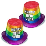 The New Year Pride Hi-Hats are glittery rainbow colored hats with Happy New Year displayed in silver. They are aprox 5 inches high with an inside circumference of 22 inches. Made of cardstock. One size fits most. Sold in quantities of 25. No returns.