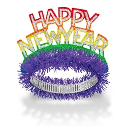 "The New Year Pride Tiaras read ""Happy New Year"" in silver lettering on a rainbow cardstock cutout with a shimmering finish. Attached is a foil band with purple fringe. One size fits most. Sold in quantities of 50. No returns."