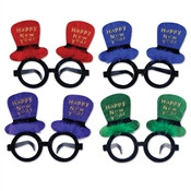 Happy New Year Top Hat Glasses (Sold Individually) (Sold In Assorted Colors)