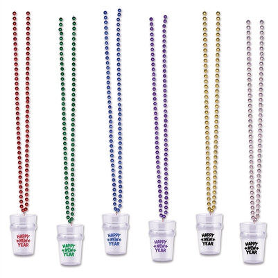 Assorted Beads with Happy New Year Shot Glass (1 Beaded Necklace Per Package) (Sold in Assorted Colors)