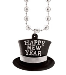 Silver New Year Beads with Top Hat Medallion