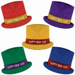 Glitz N Sparkle Happy New Year Top Hat (Assorted Colors)