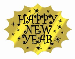 Black and Gold Foil Happy New Year Cutout