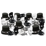 The New Year Masquerade Asst for 50 features an assortment of black velour covered plastic hats, plastic masks in both black and white, black lace masks, black plastic masks with white feathers, and white horns. Host an elegant and intriguing NYE party!