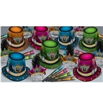 "Rock The New Year Asst for 50 contains 25 hi-hats, 25 feathered tiaras and 50 horns. Each item is made of card stock and printed with ""Rock The New Year"" and a winged guitar emblem. Assorted colors of blue, green, pink and orange. Enough for 50 guests!"
