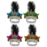 "Party like a rock star with the ""Rock the New Year"" printed tiaras. Featuring a black feather plume, and printed in assorted colors of blue, green, pink, and orange - your NYE party guests will love these economical party favors! Sold in quantities of 50."