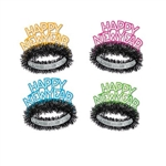 "The Neon Tiaras read ""Happy New Year"" in glitter on a florescent colored cardstock cutout. Attached is a foil band with black fringe. Comes in an assortment of colors including orange, pink, blue, and green. One size fits most. Sold 50 per box. No returns"