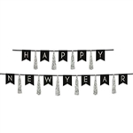 Ring in the New Year with style and class when you add this Black and Silver Happy New Year Tassel Streamer to your decorations.  Each package contains 10 tassels and 12 10 inch tall Pennants strung on black ribbon.   No assembly necessary.