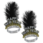 The Silver & Gold Cheers To The New Year Tiara features a card stock Happy New Year front, with printed golden bubbles, adorned with a black feather plume. The perfect party favor for your New Year's Eve guests! Price individually and sold in qty's of 50.
