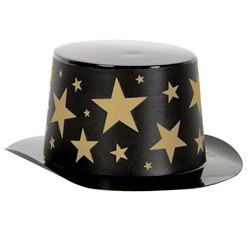 Mini Black Top Hat with Gold Star Band
