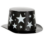 Mini Black Top Hat with Silver Star Band