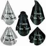 Sparkling Black and Silver New Year Hats (sold 50 per box)