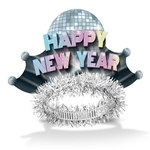 "The Disco Fever Tiaras are made of cardstock printed with a big disco ball in the center and multi-colored ""Happy New Year"" with smaller disco balls on the sides. Attached is a foil band with silver fringe. One size fits most. Sold 50 per box. No returns."