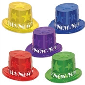 Assorted Colors New Year Star Top Hat Party Pack of 25