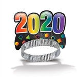 "Celebrate New Year's Eve in style and give your guests a memento to remember the celebration with these assorted 2020 Party Tiaras. Sold in quantities of 50, they're sure to be a ""crowning"" success. One size fits most with adjustable headband."