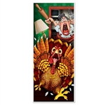 The Wild Turkey Door Cover features a colorful scene depicting a cartoon turkey running for dear life from the cook. Measuring 30 inches wide and 6 feet tall, this door cover adds a fun touch to your Thanksgiving decor. Made of a thin plastic.