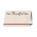 "Each package of I'm Thankful For... Place Cards contains 12 card stock name cards, perfect for your Thanksgiving table setting. Printed on one side with the phrase ""I'm Thankful for..."", with a space for a personalized sentiment. One side blank for name"