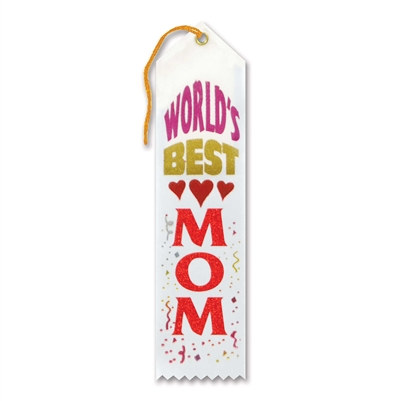 White and Red World's Best Mom Ribbon