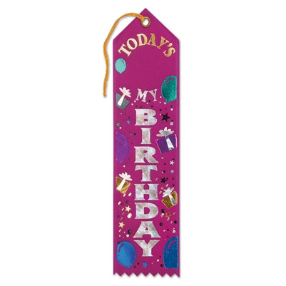 Pink Today's My Birthday Award Ribbon