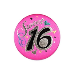 Sweet Sixteen Satin Button