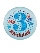 Blue My 3rd Birthday Satin Button