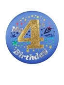 Blue My 4th Birthday Satin Button