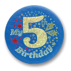 Blue My 5th Birthday Satin Button