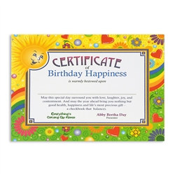 Birthday Happiness Award Certificates
