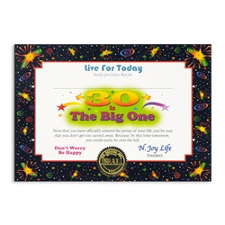 30 Is The Big One Award Certificates (6 Certificates/Pkg)