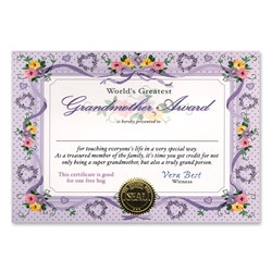World's Greatest Grandmother Award Certificates
