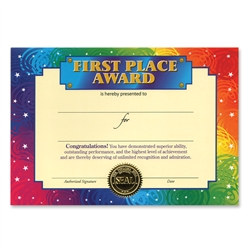 First Place Award Certificates