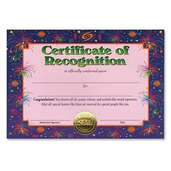Certificate of Recognition Award Certificates (6 Certificates/Pkg)