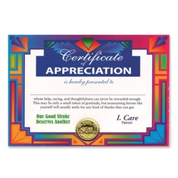 Certificate of Appreciation Award Certificates (6 Certificates/Pkg)