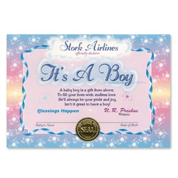 It's A Boy Award Certificates (6 Certificates/Pkg)