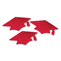 Red Grad Cap Cutouts (3/Pkg)
