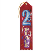 Red 2nd Place Jeweled Ribbon