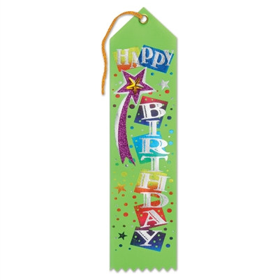 Light Green Happy Birthday Jeweled Ribbon