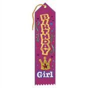 Pink Birthday Girl Jeweled Ribbon