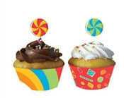 Sugar Rush Cupcake Wrapper with Picks (12/pkg)