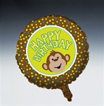 Happy Birthday Monkey Mylar Balloon