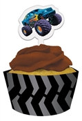 Monster Truck Cupcake Wrappers with Picks (12/pkg)