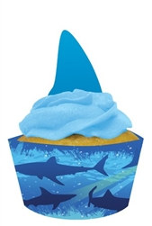 Shark Cupcake Wrapper and Picks (12/pkg)