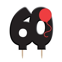 Black 60 Candle with Balloon