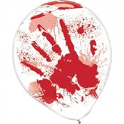 Bloody Hand Latex Balloons (6/pkg)
