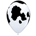 "The Cow Print Balloon 11"" features a white, helium quality latex balloon printed with black holstein cow patches. Sold in multiples of ten, these balloons will add a bovine touch to your next farm or western theme party. Not eligible for return."