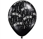 There's no doubt that somebody is having a birthday when you decorate with these 11 inch black latex balloons. Each balloon has the words Over The Hill printed in white, along with dot and swirls of white confetti. Must purchase in quantities of five.