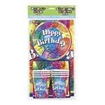 The Happy Birthday Party Pak for 8 people includes 8 cups, 8 napkins, 8 dessert plates, and a rectangular table cover all in one package! The bright, cheery colors are a perfect backdrop for the Happy Birthday design printed on each item.