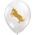 The Unicorn Balloon are made of latex and printed with two gold unicorns. When fully inflated, they measure 11 inches. Must be purchased in quantities of 10. No returns.