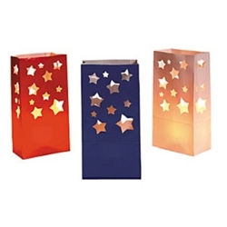 The Paper USA Star Luminary Bags are made of paper and are an assortment of blue, red, and white colored bags with cutouts of different sized stars. Measures 5 inches wide and 10 inches tall. Contains 12 bags per package.