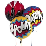 This set of three assorted printed Suphero Mylar Balloons will complete the decorations at your next superhero party. Each measures 18 inches when inflated. One says Party, one says Boom, and one features a city skyline.